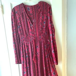 Boho cotton maxi dress smocked waist M